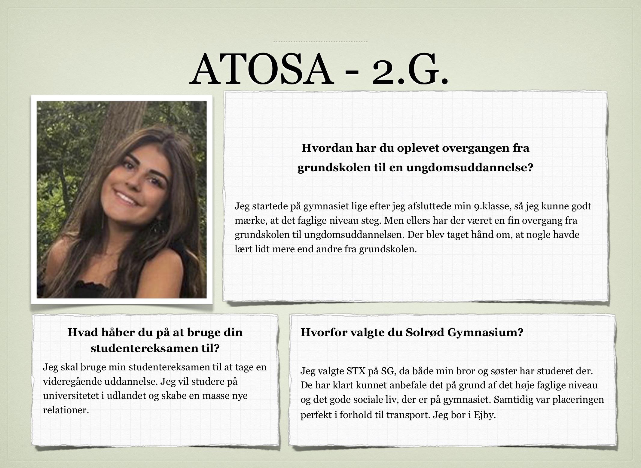 Kollage af Atosa 2.G's udsagn
