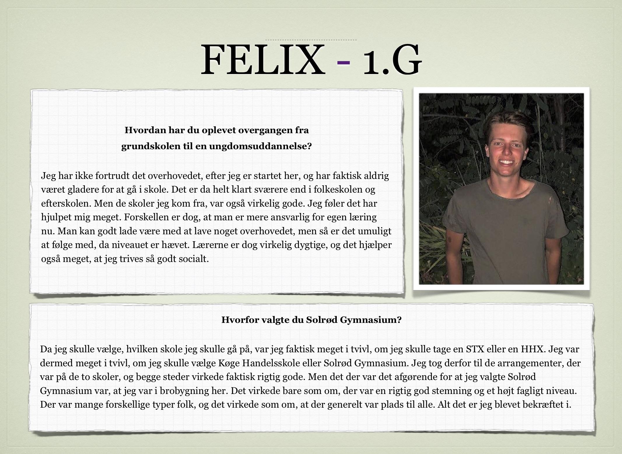 Kollage af Felix 1.G's udsagn